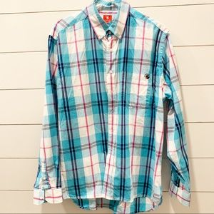 SOUTHERN PROPER Cotton Plaid with Logo Shirt